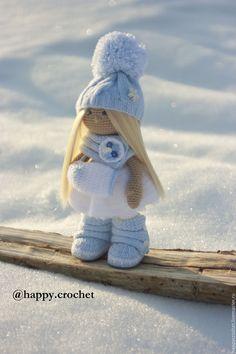 Купить Снежинка - голубой, белый, кукла ручной работы, Вязание крючком, вязанная игрушка