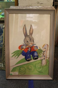 Original Bunny Painting from the 1940's by BackinthedayOmaha, $97.50
