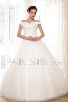 vestidos de novia Tul Marfil Hasta Suelo Encaje Elegante Moderno Glamouroso Corto Corazón Encaje