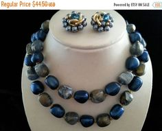 Cyber Monday Sale Vintage Coro Blue 2 Strand Necklace Earring Set Hong Kong 1950s Retro Rockabilly Old Hollywood Glam Regency Mid Century Co by MartiniMermaid on Etsy https://www.etsy.com/listing/231814809/cyber-monday-sale-vintage-coro-blue-2