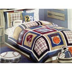 All star sports kids full queen size bed bedding comforter set for ... : boys quilt set - Adamdwight.com