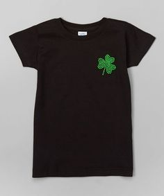 Look at this Rhinestone Fabuless Black Shamrock Charm Tee - Infant, Toddler & Girls by Rhinestone Fabuless Infant Toddler, Toddler Girls, Erin Go Bragh, Charmed, Stylish, Tees, Cotton, Mens Tops, Black