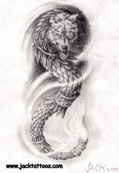 Dragonwolf arm tattoo by TattooBiter on DeviantArt God Tattoos, Baby Tattoos, Future Tattoos, Body Art Tattoos, Tatoos, Small Tattoos, Lion Tattoo, Get A Tattoo, Arm Tattoo