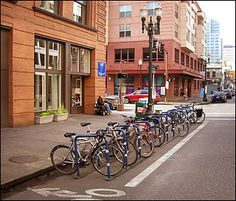 Bike corral in Portland, oregon