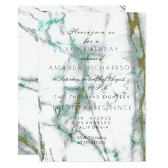 Minimalism Mint Green White Gold Green Marble 11 Cm X 16 Cm Invitation Card