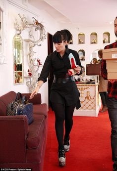 Love them: Lily Allen seemed particularly taken with a lovely pair of ice-blue Louboutin h...