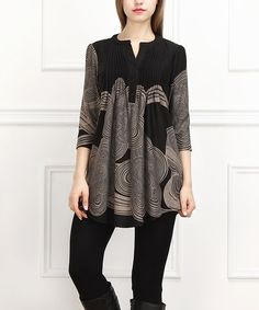 Look what I found on #zulily! Black & Taupe Cloud Notch Neck Tunic #zulilyfinds