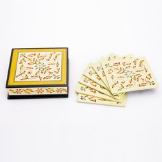 Wooden Enamel Coasters Packed In A Box - Matrimony Gifts