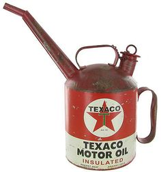 Add an old fashion, dated appeal to any man's decor with this Red Texaco Motor Oil Can with Spout. The red and white oil can has a rusty, worn texture and displays the Texaco logo from the early to mi Old Gas Pumps, Vintage Gas Pumps, Vintage Oil Cans, Vintage Tins, Retro Vintage, Vintage Style, Pompe A Essence, Harley Davidson, Old Gas Stations