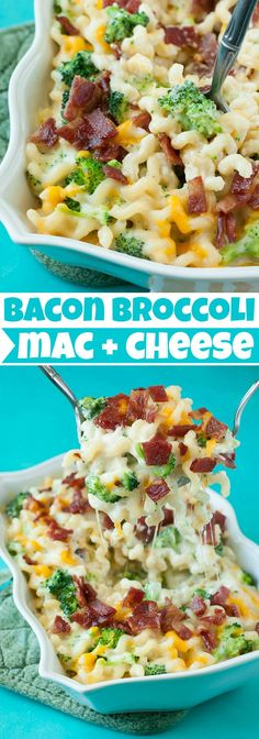 Bacon Broccoli Mac and Cheese :: Loaded with gorgeous green broccoli and topped with crispy bacon, this easy cheesy comfort food is ready to rock your face!