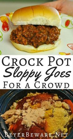 These crock pot sloppy joes for a crowd are just what you need when you are looking for a recipe to feed a bunch of hungry people! for a crowd Crock Pot Sloppy Joes for a Crowd Sloppy Joe Recipe Crock Pot, Crock Pot Slow Cooker, Crock Pot Cooking, Slow Cooker Recipes, Meat Recipes, Cooking Recipes, Recipe For Sloppy Joes, Crock Pots, Crockpot Meals