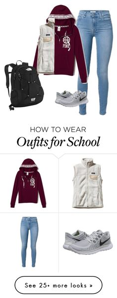 """School"" by clorrette29 on Polyvore featuring NIKE, Patagonia, The North Face, women's clothing, women, female, woman, misses and juniors"