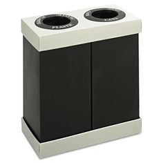 Safco At-Your-Disposal Recycling Center Polyethylene Two 28 gal Bins Black Janitorial Supplies Waste Receptacles Recycling Indoor Recycling Bins, Trash And Recycling Bin, Cardboard Recycling, Recycling Station, Recycling Center, Trash Containers, Recycling Containers, Plastic Bins, Recycle Plastic Bottles