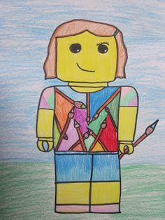 My 6 year old LOVES Legos and he was the impetus for this project. The 4th grades received a quick tutorial from me on how to draw a standard minifigure. Then I gave them tips on how to add facial features (no noses of course!) and hats or hair. They loved this project and were quite creative with their designs.