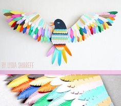 Snacked: Paper birds. Paper craft. Art. Color. Colour. Lydia Shirreff. Etsy.