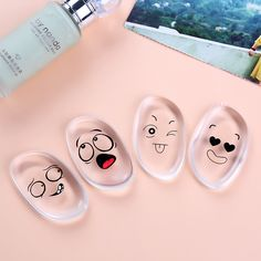 New Make up Puff Jelly Powder Cartoon Smileys Bear Transparent Silicone Gel Sponge Puff Face Foundation Cosmetic Makeup 2017