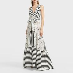 Polka Dots Patchwork Stripes V Neck Maxi Dress – mumetaz Beautiful Dress Designs, Beautiful Dresses, Awesome Dresses, Bare Back Dress, Girl Fashion, Fashion Dresses, Fashion Women, Yellow Floral Dress, Modelos Plus Size