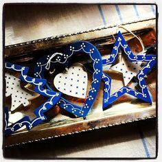 lovedecorateletters: The Mish Mash - wooden ornaments hand painted blue and white