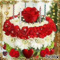 birthday cake floral arrangement Flower birthday cake with white