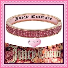 """{Juicy Couture} Pink Crystal Bangle Bracelet HPNWT Juicy Couture dazzling pink simulated crystal rose gold tone bangle bracelet will glamourize any look!  *PLEASE DON'T BUY LISTING, COMMENT & I'LL CREATE YOUR LISTING *Length 8.25"""", """"Juicy Couture"""" pink interior inlay *Bangles pictured above available to purchase & bundle! *Bundle Discounts, Smoke-Free, No Trades Juicy Couture Jewelry Bracelets"""