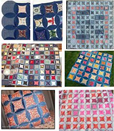 Faux Cathedral Windows from denim jeans: examples and tutorials.  Quilt Inspiration's free pattern day, updated November 2012