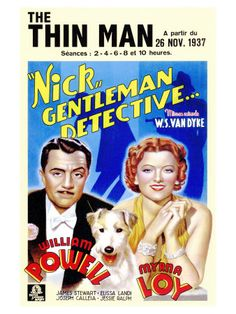 """Movie poster, """"The Thin Man"""", starring William Powell and Myrna Loy, 1934"""
