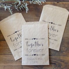 Together Forever. What a comforting sentiment of reassurance as you celebrate the day TWO become united as ONE! Printed on 100% recycled paper (recyclable again) these lovely bags have been professionally designed with adoring couples especially in mind.  Personalized with your names & wedding date to make them unique and special, your guests will be delighted to unwrap the surprise you tuck inside...OR make these a conversation starting piece at your candy or goodie buffet for guests to…