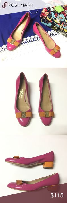 Salvatore Ferragamo Pink Patent Leather Flats Preloved in great condition!! Other than that they're perfect! Small scuffs visible on shoes, although most seem to have rubbed off cleanly. Minimal markings on the sides of the bows, Beautiful vibrant pink and orange colors. Some wear can be seen on the soles of the shoes. Other than that they are an amazing brand at a price no one can beat!!!  Size is 6.5B Salvatore Ferragamo Shoes Flats & Loafers