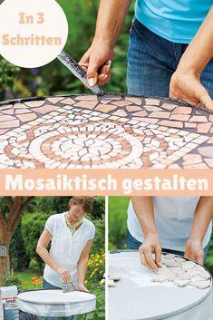 Ein Mosaiktisch ist ein schönes Accessoire für den Balkon oder die Terrasse. In nur 3 Schritten kannst du ihn selber gestalten! #tische #gartenmoebel #Mosaik #upcyling #upcycle #ausaltmachneu #diy #selbermachen