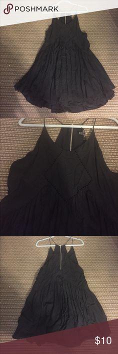 Little black dress Razor back, spaghetti strap mini dress with full ruffled skirt Dresses Mini