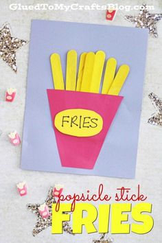 Popsicle Stick Fries Kid Craft is part of Kids Crafts Easy Popsicle Sticks - FRIYAY! Popsicle Stick Fries Kid Craft there are ONLY a handful of inexpensive supplies you will need and it takes a total of 10 minutes to complete Popsicle Stick Art, Popsicle Stick Crafts For Kids, Crafts For Kids To Make, Craft Stick Crafts, Art For Kids, Kids Crafts, Match Stick Craft, Pop Stick, Craft Sticks