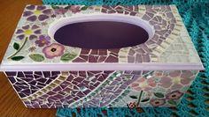 Tissue box holder Mosaic Crafts, Mosaic Projects, Mosaic Art, Mosaic Glass, Mosaic Tiles, Tissue Box Holder, Tissue Box Covers, Tissue Boxes, Glass Jewelry Box