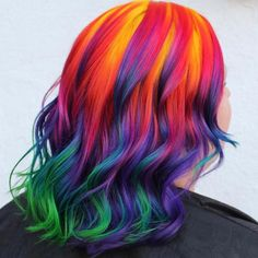 Freaking out over how AMAZING this vivid technicolor hair by is! Try our Planet Packs to make your own gorgeous color melt! Golden Brown Hair Color, Hair Color Purple, Cool Hair Color, Brown Hair Colors, Vivid Hair Color, Low Lights Hair, Long Face Hairstyles, Braided Hairstyles, Color Melting