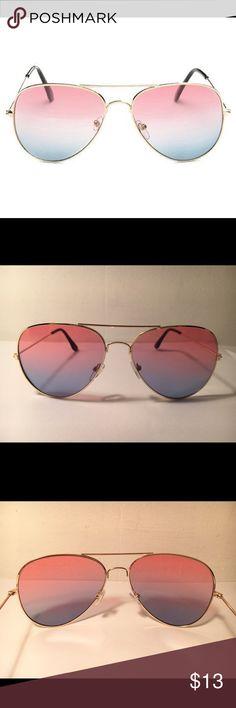 SALE NEW Trendy Pink Aviator Sunglasses Lens material: resin, lens color: pink/bluish tint, frame material: alloy, frame color: gold, lens height: 5.3 cm, lens width 5.8 cm, temple length 13.1 cm, nose 1.7 cm, frame length 13.8 cm, NEW w/o tags tags: aviator sunglasses, pilot sunglasses, Spring, Summer, Beach sunglasses, fashion sunglasses, fashion sunnies Accessories Sunglasses