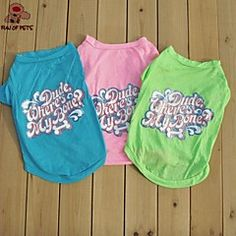 Cat Dog Shirt / T-Shirt Green Blue Pink Dog Clothes Summer Letter & Number Fashion