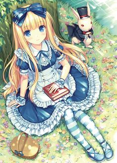 This is a pretty cute anime wallpaper. It focuses on Alice in Wonderland. She is sitting next to the white rabbit. It was made by the anime artist named Sayori. Anime Chibi, Lolis Anime, Film Anime, Beautiful Anime Girl, I Love Anime, Awesome Anime, Anime Style, Alice Anime, Alice In Wonderland Dress