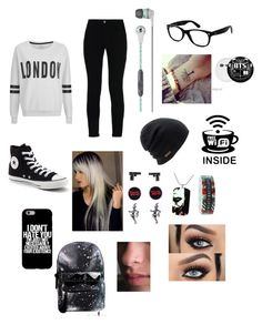 """Meh idk im depressed"" by ninjadevi on Polyvore featuring ONLY, STELLA McCARTNEY, Converse, Skullcandy, Ray-Ban and Coal"