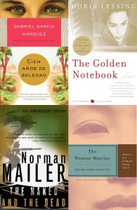One Hundred Years of Solitude, Gabriel García Márquez · The Naked and the Dead, Norman Mailer · The Golden Notebook, Doris Lessing · The Woman Warrior, Maxine Hong Kingston