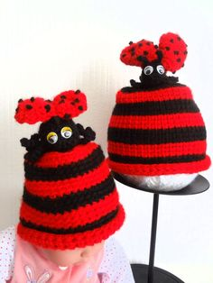 Baby Ladybug Hat   Hand Crochet  Two Sizes by VictoriaCrochet, $21.99
