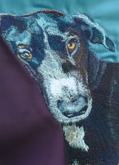 Luna Freehand Machine Embroidery Portrait by Art Sea Craft Sea Freehand Machine Embroidery, Artist Workshop, Puppy Dog Eyes, Sea Crafts, Dog Art, Pet Portraits, Your Pet, Dog Lovers, Moose Art