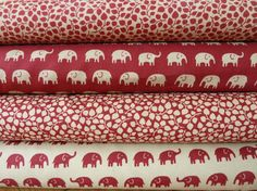 Fat Quarter Fabric Bundle  - Deep Raspberry Red & Latte/Beige Fabric Bundle - 4 Fat Quarters - 100% Cotton - Elephants/Jumbos and Foliage Prints.  - John Louden Fabric - noted for quality  - Each of the Four Fat Quarters measures approx 56 cm x 50 cm Uses: This super quality cotton is perfectly suitable for a range of purposes, quilting, soft furnishing, home decor accents and crafts to name but a few. Each fabric is also available to buy individually Check out my other fabrics ...