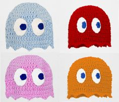 Pacman Ghost Hat in Blue, Pink, Red or Orange, Crochet Gamer Beanie, send size/color choice baby - adult. $20.00, via Etsy.