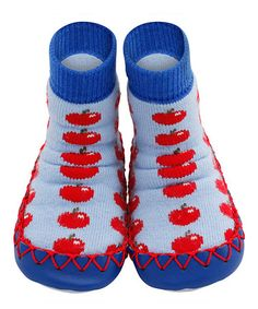Take a look at this Red Apple Of Your Eye Slippers by Moccis on #zulily today!