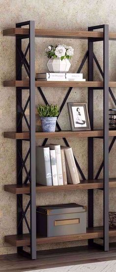 Impressively strong and sturdy with vintage and industrial style. This solid wood bookcase is unparalleled in beauty, and it has a beautiful grain that contributes to a great-looking bookshelf. Farmhouse Bookcases, Farmhouse Furniture, Rustic Furniture, Farmhouse Decor, Farmhouse Style, Pipe Furniture, Furniture Vintage, Industrial Furniture, Furniture Design