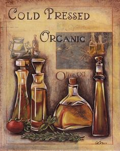 French Bistro Cafe Art Print Kitchen ~ ☮~ღ~*~*✿⊱  レ o √ 乇 !! ~ Olive Oil II by Susan Osborne