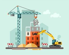 Construction site, building a house - flat illustration.