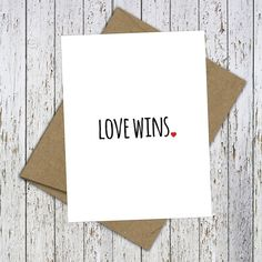 Love Wins. Beautiful hand-lettered card. Celebrate equality with this beautiful Love Wins Blank Card. #Lovewins, #loveislove by FlairandPaper on Etsy: