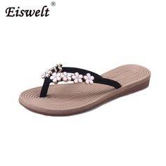 01932ec3ad6f4 Plus Size Fashion Floral Metal Beach Shoes Women Summer Slippers Summer  Flip Flops Flat Shoes For