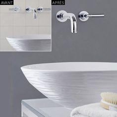 Du Masq'Carrelage pour peindre le carrelage dans la salle de bain.