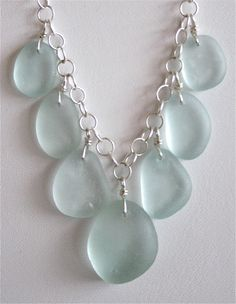 Sea Glass Jewelry Light Aqua Drops Necklace by OceanCharmsSeaGlass, $56.00